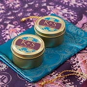 Indian Jewel Teal Design Gold Round Mint Tin (set of 12)