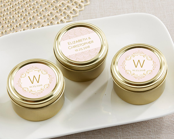mint tin wedding favors personalized gold candy tins modern