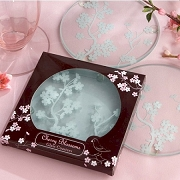 Cherry Blossoms Frosted Glass Coasters (set of 2)