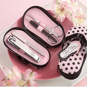 Pink Polka Flip Flop Five Piece Pedicure Set