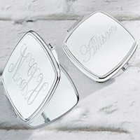 Personalized Silver Mirror Compact - Engraved
