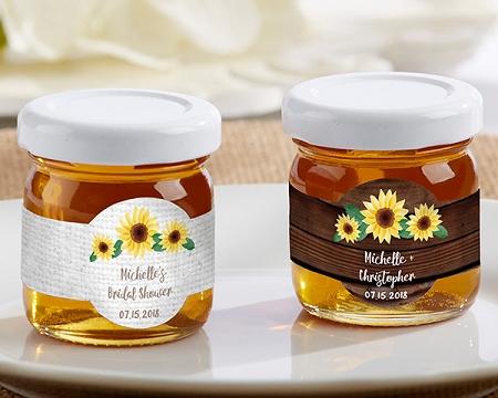 Honey Wedding Favors.Honey Jar Favors Sunflower Design Set Of 12