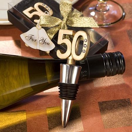 50Th Anniversary Wine Bottle Stopper Favors - Golden Wedding ...