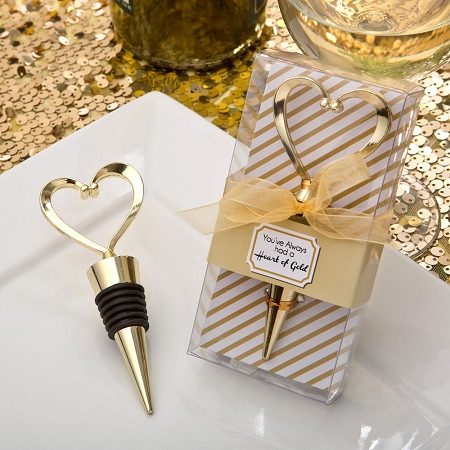 Heart Design Gold Wine Stopper Wedding Favor - Wine Theme Wedding Idea