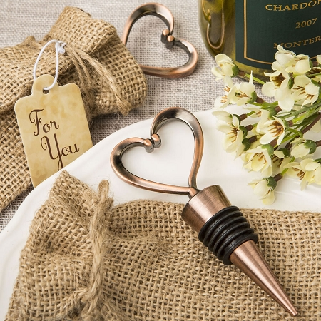 Vintage Heart Wine Bottle Stopper Wedding Favors With Copper Finish And Burlap Bag