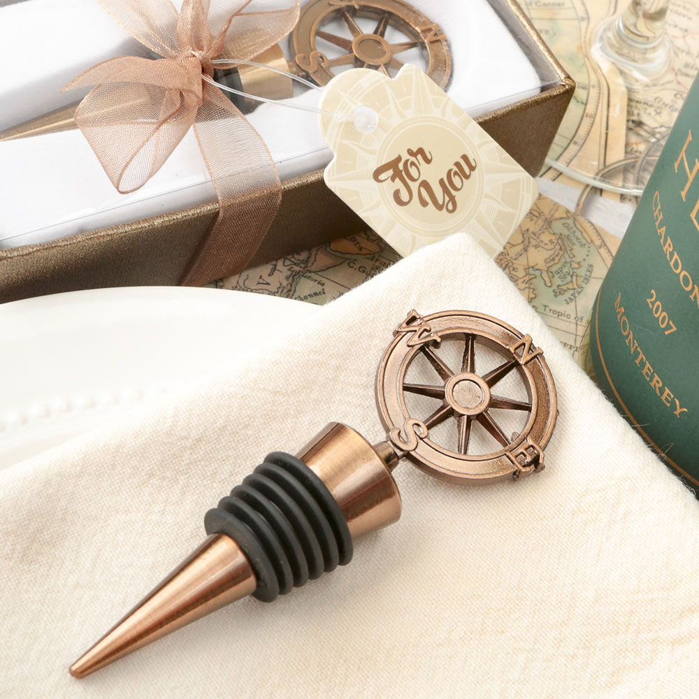 Compass Wine Bottle Stopper Wedding Favors - Nautical Wedding Favor ...