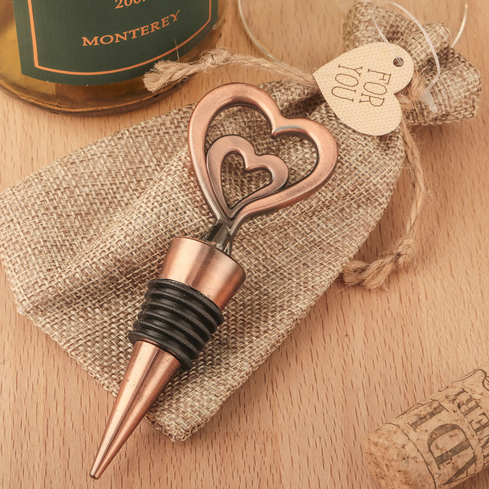 Copper Heart Wine Bottle Stopper Wedding Favors - Double Heart Wine ...