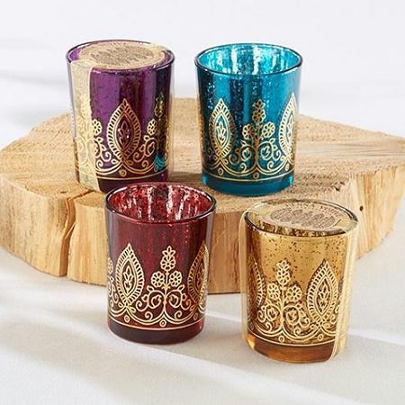 Indian Jewel Henna Votives Assorted Set Of 4