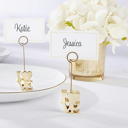 Love gold place card holder set of 6 for Place settings name card holders