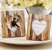 Rustic Faux Wood Heart Place Card Holder