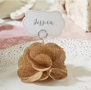 Burlap Rose Place Card Holders (set of 6)