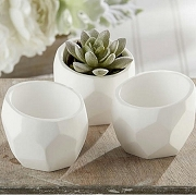 Geometric White Planter Holder (set of 4)