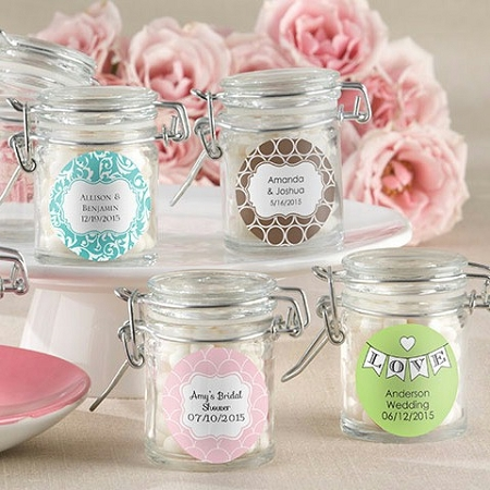 Mini Glass Jar Favors Personalized Wedding Bridal Shower