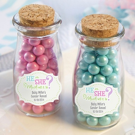 Gender Reveal Personalized Milk Jars Baby Shower Favors