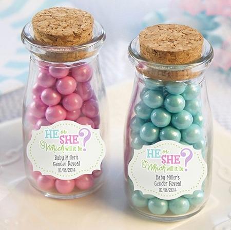 Home U003e Party Favors U003e Baby Shower U003e Glass Jars U003e Gender Reveal Baby Shower  Milk Jar Favors