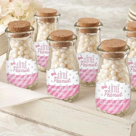 Little Peanut Milk Bottle Jars Personalized Baby Shower Favors