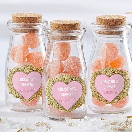 sweet heart personalized milk jar favors wedding bridal shower bachelorette parties valentines day