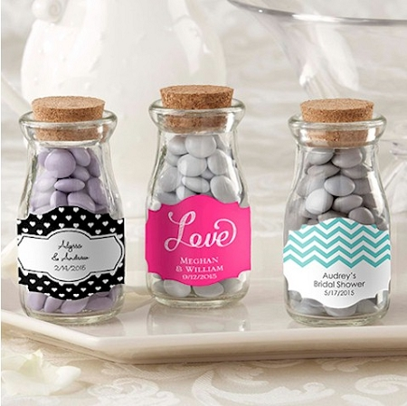 Personalized vintage glass milk bottle wedding favors bridal shower party gifts