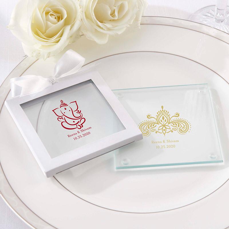 Indian Wedding Favors Wholesale: Personalized Indian Wedding Coasters , Henna And Ganesha