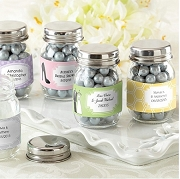 Personalized Mini Glass Mason Jar Favors (set of 12) - Wedding