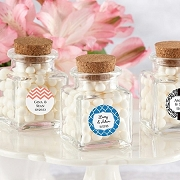 Personalized Petite Square Glass Jar (set of 12) - Wedding/Bridal