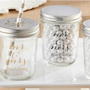 Mr. & Mrs. Imprinted Mason Jar (Set of 12)