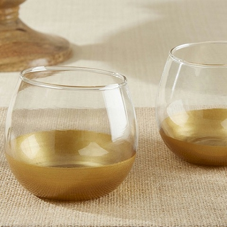 Gold Dipped Glass Votive Candle Holder - Wedding Decoration Idea