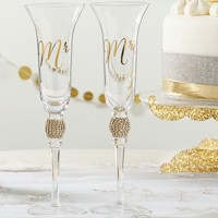 Gold Glitter and Rhinestone Mr. & Mrs. Toasting Flutes