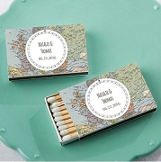 Wedding Matchboxes (Set of 50) - Personalized Travel Themed Stickers
