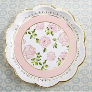 Pink Tea Party paper Plates (Pack of 8 Plates)