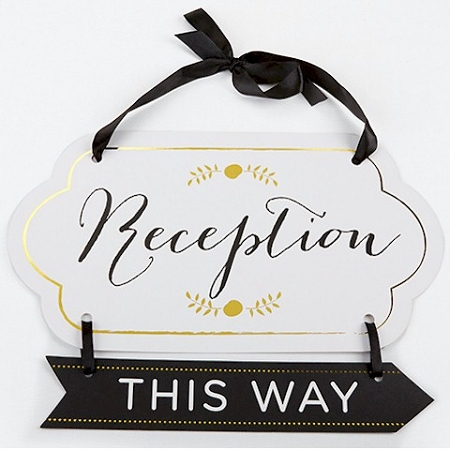 Classic Gold Foil Directional Reception Sign Wedding Reception