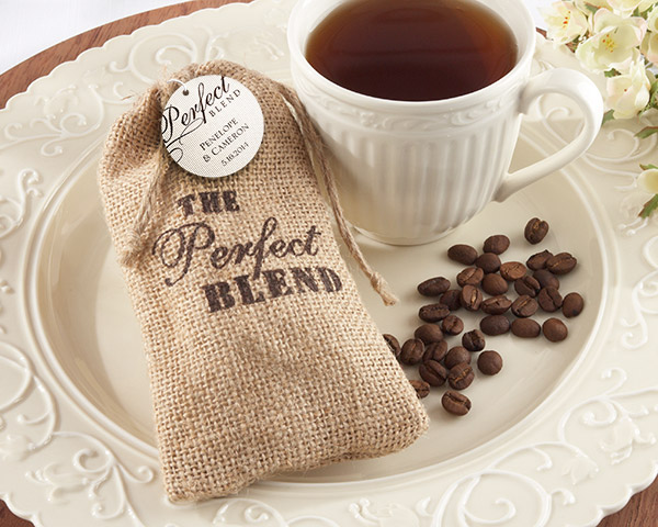 rustic burlap coffee bag wedding and bridal shower party favors