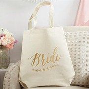 Gold Foil Bride Canvas Tote