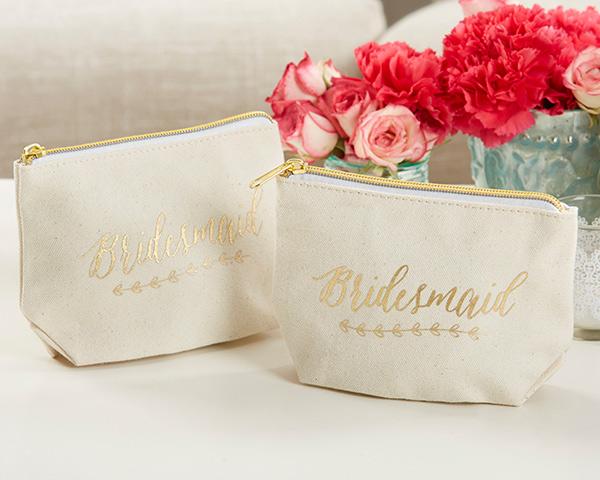 Gold Foil Bridesmaid Canvas Makeup Bag