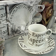 Espresso Set with Two Cups Two and Saucers