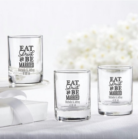 personalized shot glass favors eat drink be married wedding design