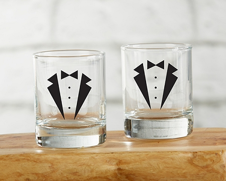 Wedding Shot Glasses.Tuxedo Shot Glass Set Of 4
