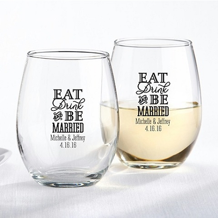 Eat, Drink, Be Married Wine Glass Favors - Wedding|Bridal Shower ...