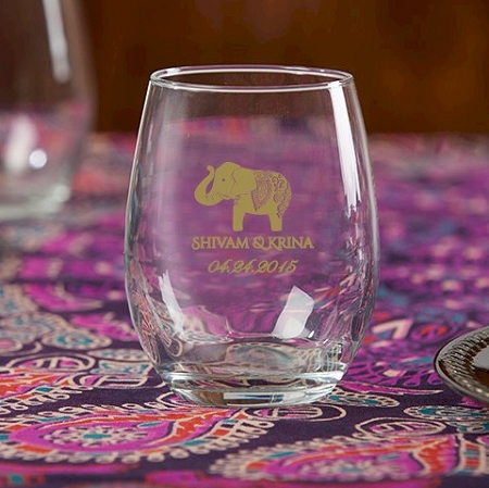Lucky Elephant Stemless Wine Glass Wedding Favors
