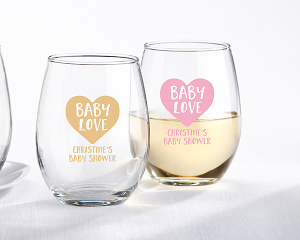Stemless Wine Glass Baby Shower Favors Baby Love