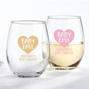 Personalized Stemless Wine Glass (9 oz)  - Baby Love