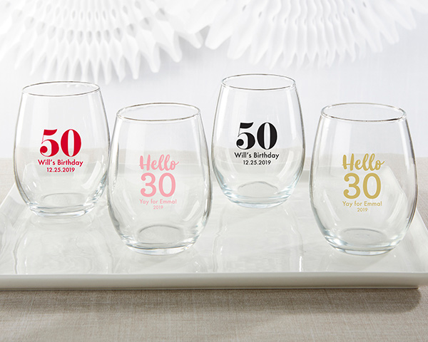 Personalized Stemless Wine Glass Party Favors | Birthday Party ...