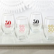 Personalized Stemless Wine Glass (9 oz) - Birthday and Anniversary