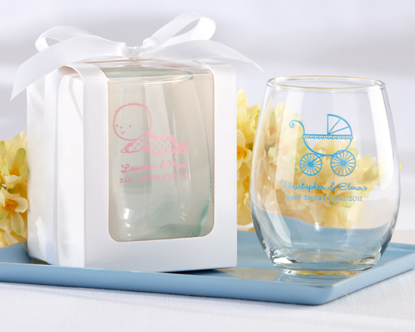Stemless Wine Glass Baby Shower Favors