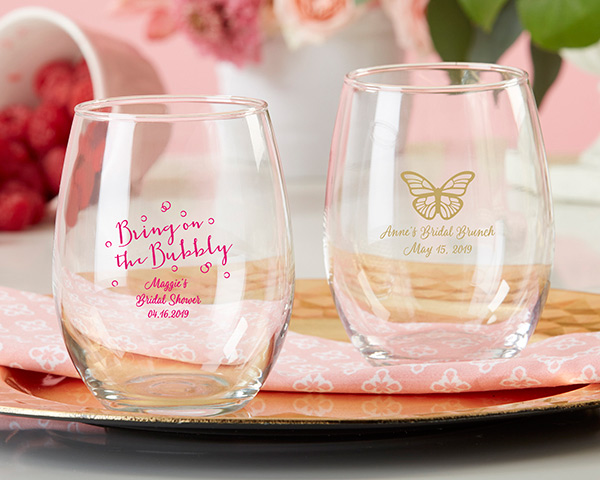 personalized stemless wine glasses bridal brunch bridal shower party