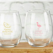 Personalized Bridal Shower Party Stemless Wine Glasses (9 oz)