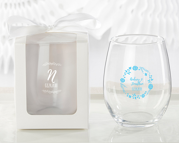 Personalized Wedding Stemless Wine Glasses | Ethereal Design