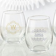 Personalized 9 oz. Stemless Wine Glass - Modern Romance