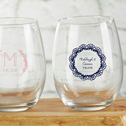 Personalized 9 oz. Stemless Wine Glass - Rustic Charm Wedding