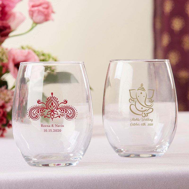20a1f345196 Indian Wedding Stemless Wine Glasses, Personalized Henna and Ganesha Design